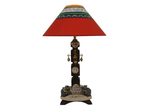 Wooden Fish Dhokra Lamp - Red