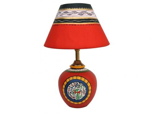 Earthen Matki Lamp - Red