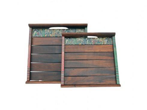 Shesham Wood Tray with Warli Art (Set of 2) - Dark Brown - Small