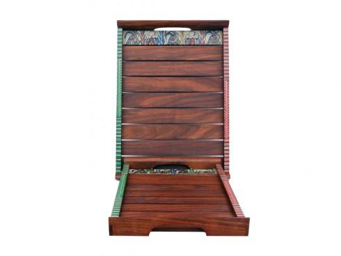 Shesham Wood Tray with Warli Art (Set of 2) - Dark Brown