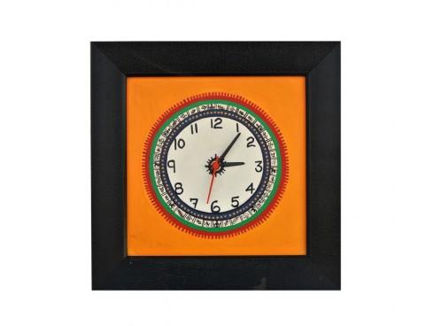 Wall Clock with  Rusty Orange Base