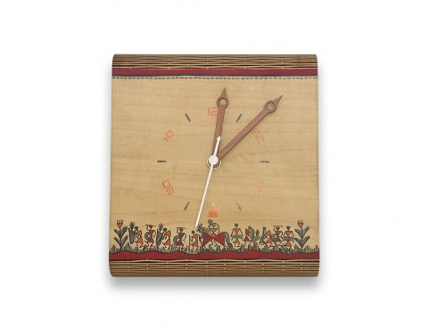 Wooden Table Clock with Warli Art