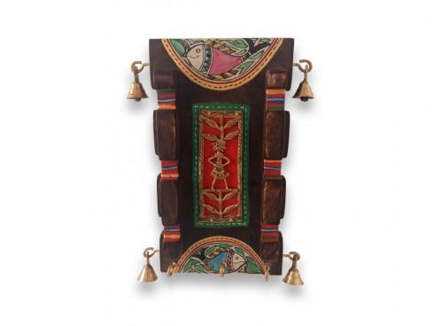 Wooden Wall Decoration Antique  Key Hook with Madhubani Art
