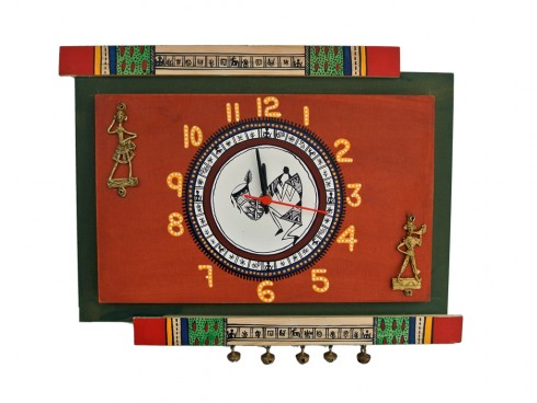 Wall Clock Antique Orange and Green