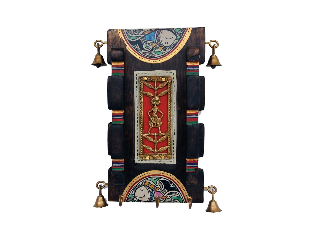 Wooden Wall Key Hook Antique Vertical Broad with Dhokra and ...
