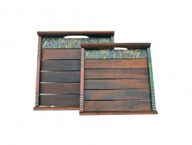 Shesham Wood Tray with Warli Art (Set of 2) - Dark Brown - Small