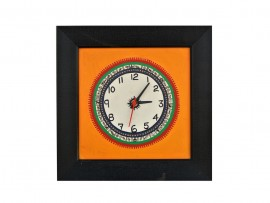 Wall Clock with  Rusty Orange Base