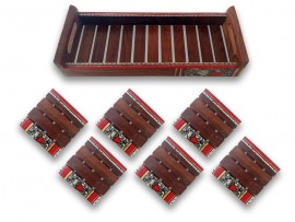 Wooden Slots Tray with Warli Art(6 Plate Set)~Large