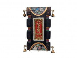 Wooden Wall Key Hook Antique Vertical Broad with Dhokra and Madhubani Art