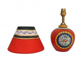 Earthen Matki Lamp - Red