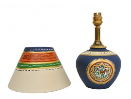 Earthen Matki Lamp - Blue