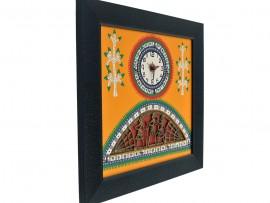 Wall Clock Yellow base and Dhokra and warli Art