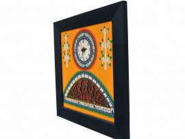 Wall Clock Yellow base and Dhokra and warli Art