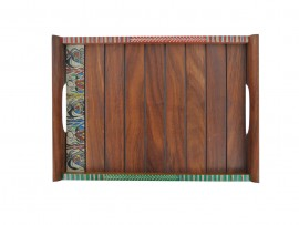 Shesham Wood Tray with Warli Art (Set of 2) - Dark Brown