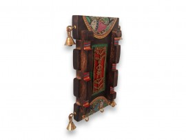 Wooden Wall Decoration Antique  Key Hook with Madhubani Art