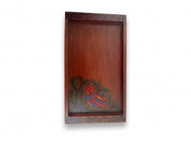 Wooden Tray with Petals Indian Art