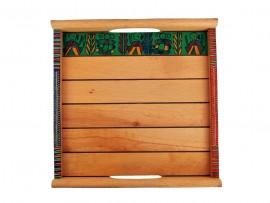 Shesham Wood Tray with Warli Art (Set of 2) - Light Brown
