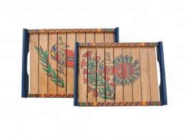 Sheesham Wood Tray with Warli Art and Painting (Set Of 2) - Light Brown