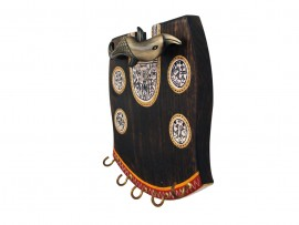 Wooden Wall Key Hook Antique with Warli Art and Brass handle
